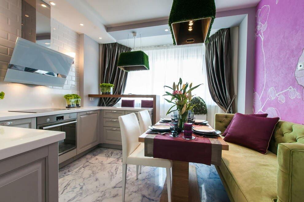 дизайн п-образной кухни с балконом