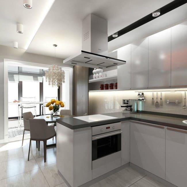 п-образная кухня объединенная с балконом