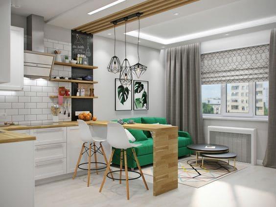 п-образная кухня совмещенная с балконом