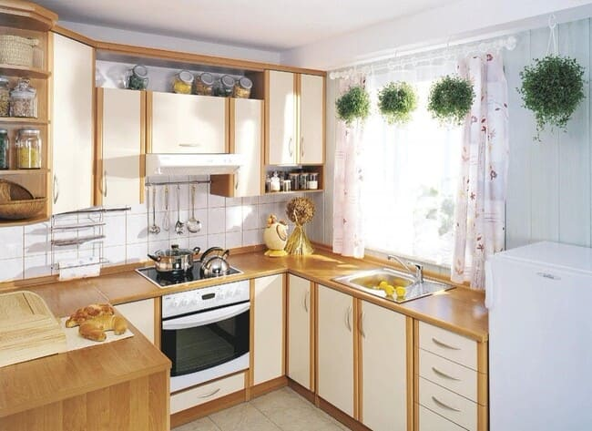 п-образный гарнитур для маленькой кухни