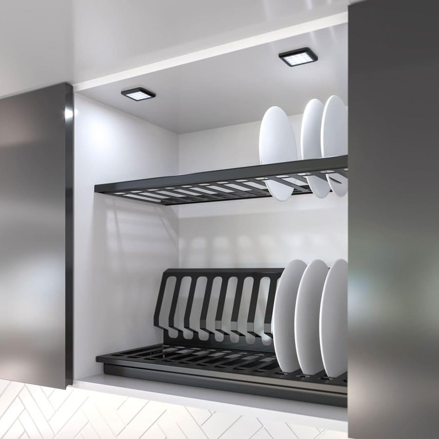 квадратный LED светилник черный матовый