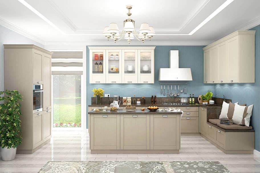 дизайн п-образной кухни с островом